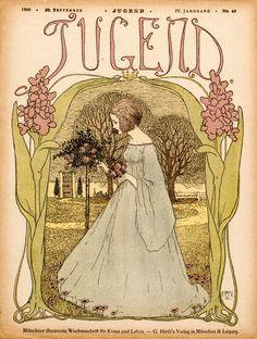 Nieuw in mijn Werk aan de Muur shop: Omslag tijdschrift Jugend 30 September 1899