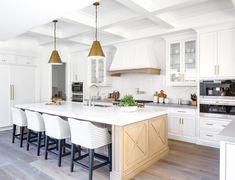 White+ light wood kitchen with brass Goodman pendant