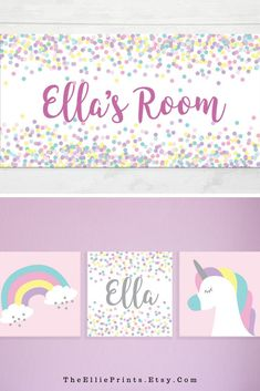 Wall prints and decor that is unicorn themed! Rainbow colors and fun unicorn prints. Unicorn Themed Room, Unicorn Rooms, Nursery Art, Nursery Decor, Room Decor, Room Wall Painting, Room Paint, Rainbow Print, Rainbow Colors