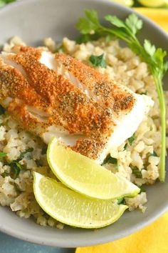 Steamed halibut seasoning with paprika and garlic powder is served over creamy, coconut lime cauliflower rice. A filling meal that takes less than 15 minutes. Cauliflower Recipes, Veggie Recipes, Seafood Recipes, Cauliflower Rice, Healthy Recipes, Best Halibut Recipes, Coconut Recipes, Meal Recipes, Healthy Meals