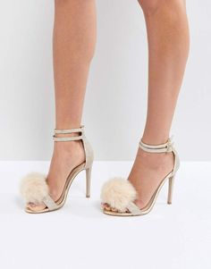 Carvela Glenn Gold Faux Fur Pom Heeled Sandals 9231fc33d78