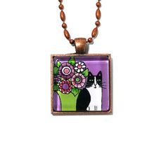 Tuxedo Cat Jewelry in Lavender Violet... by SusanFayePetProjects, $18.00