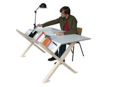 """Cool desk design - more like architect's drafting table. Good if you don't have a lot of """"drawer stuff."""""""