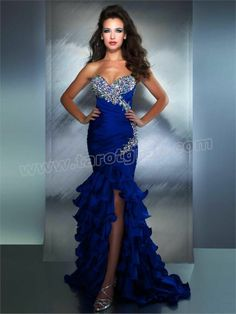 New Arrival Tiered Beading Royal Blue Evening Dresses