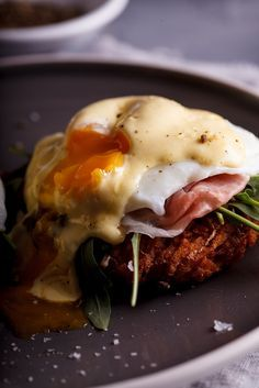 What could be better than a crunchy hash brown topped with salty ham. a softly poached egg and buttery hollandaise? Not much, that's what! #recipe #breakfast #brunch