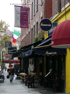 Ludlow Street - Scale & variation of signs and awnings New York Travel, Us Travel, Bleecker Street, Greenwich Village, East Village, City Life, Apartment Living, Roads, Wonders Of The World