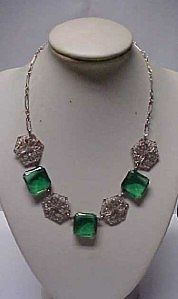 Czech Art Deco Emerald Crystal and Filigree Necklace