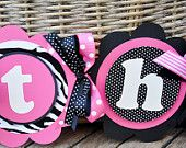 NEW- High Chair Banner in Hot Pink, Light Pink  and Blue. $22.00, via Etsy.