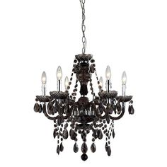 Smokey topaz acrylic beads and jewel pendants adorn this classically styled black chandelier, reflecting light in all angles to create a sparkling, eye-catching centerpiece. The dark, stylish finish adds a modern touch that makes it a perfect choice for contemporary, as well as traditional spaces.