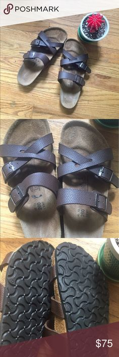 "Brown Birkis by Birkenstock These Birkis are in great condition. Little to no footprint.  ""Birk"" markings on soles are clearly visible. They have been cleaned and resealed by me! Birkenstock Shoes Sandals"