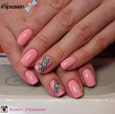 Fashion shellac nails, Gentle shellac nails, Gentle summer nails, June nails, Manicure 2016, Manicure by summer dress, Nails with dragonfly, Nails with stickers