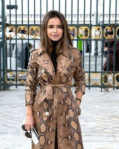 Miroslava Duma in a python print trench coat in Paris