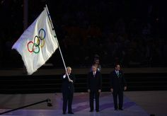 The Olympic Flag is handed from Mayor of London, Boris Johnson to IOC President Jacques Rogge, who passes it to Mayor of Rio de Janeiro, Eduardo Paes during the Closing Ceremony on Day 16 of the London 2012 Olympic Games at Olympic Stadium on August 12, 2012 in London, England. Only 4 more years until Rio! #Rio2016
