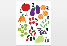 Fruit and Veggie Numbers Poster Counting Art by WoollyBirdPrintCo