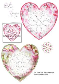 5 Heart Mandalas on Craftsuprint designed by Diana Hutchinson - Two heart toppers with a mandala stitch or prick pattern. - Now available for download!