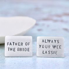 What does your dad call you? These are the sweetest father of the bride cufflinks for your special day. Wedding gift for father of the bride.