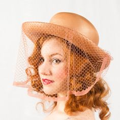 vintage 1940s Peachy Keen veiled straw hat