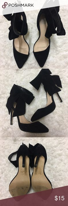Fabletics black heels Suede black pointed toe heels with a bow on the side. I wore these a couple times mainly in the holiday season because it's so cute and such a beautiful shoe to wear for special occasions Fabletics Shoes Moccasins