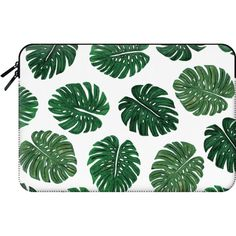 Macbook Sleeve - Tropical Green Watercolor Painted  Swiss Cheese Plant... (225 ILS) ❤ liked on Polyvore featuring accessories, tech accessories and macbook sleeve