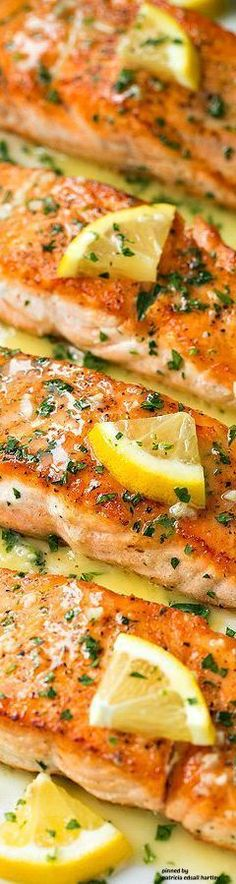 Skillet Seared Salmon with Garlic Lemon. Butter Sauce #seafoodrecipes