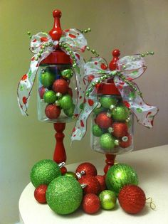 Adorable Christmas Gift Ideas, Whimsical Red and Green Glass Apothecary Christmas Jars #christmas #gift #idea www.loveitsomuch.com
