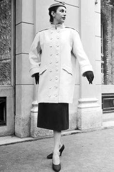 TRULY VINTAGE STREET STYLE  Balenciaga coat, 1954   - HarpersBAZAAR.com