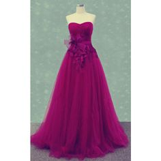 Red A Line Sweetheart Tulle Floor Length Appliques Lace Long Prom... ($139) ❤ liked on Polyvore featuring dresses, long tulle dress, purple lace dress, lace prom dresses, a line long dress and long prom dresses