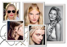 """A it-trança em Kate Bosworth e na passarela de Giamba; no desfile da Givenchy; e a trança-coroa de Francesca Liberatore. Kate Moss com a """"Kate Braid"""", a trança soltinha usada de lado (Foto: Jacques Dequeker / Arquivo Vogue, Imaxtree, Condé Nast Digital Archive, Getty Images e Divulgação)"""