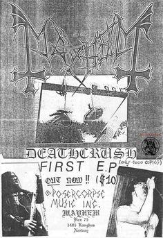 Deathcrush ad in 1987 Extreme Metal, Metal Albums, Thrash Metal, Copics, Black Metal, Death, The Originals, Movie Posters, Pictures
