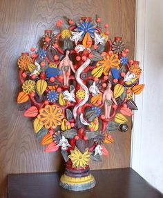tree of life . It dates to the and is from the village of Acatlan in the state of Puebla, a village long famous for its tree of life pottery. Mexican Crafts, Mexican Folk Art, Pottery Sculpture, Sculpture Art, Sculptures, Sculpture Ideas, Ceramic Painting, Ceramic Art, Dates Tree