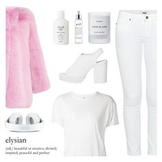 """""""Morning sunlight in Tokyo"""" by nadialesa ❤ liked on Polyvore featuring Paige Denim, Gucci, Monki, R13, Fresh, philosophy, Byredo, Pink, WhiteOnWhite and whiteoutfit"""
