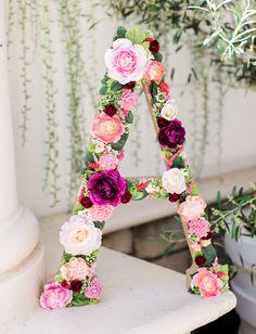 DIY floral letter for a bridal shower or wedding