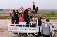 Happy kids after receiving their new winter boots #ISIS #refugees #Iraq #Kurdistan #SpiritofAmerica #SoA #humanitarian #children #Erbil #boots #nonprofit #winter