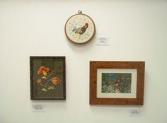 Sheila's Crewel Work - 'Cockerel from Tortola', 'Stylised Flowers in Orange Tones' and 'Jungle Scene'