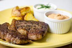 Uma Receita de Bife Ancho deliciosa com Batatas fritas rústicas e super temperadas do Chef Fogaça para a Hellmann's.