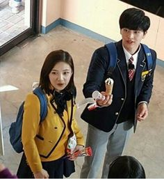 Sungjae and Joy spotted being lovey dovey in school uniforms for 'We Got Married' filming