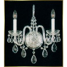 2 lights traditional crystal wall sconce in polished chrome finish