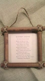 Frame using Lincoln Logs and vintage paper...I might make some cute ornaments for the cabin