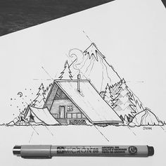 Last sketch for 2016! Looking forward to much in the new year Which do you prefer? Sleeping under the stars ⭐️ (bivy), wild camping in tent ⛺️ or chilling in a cabin ?