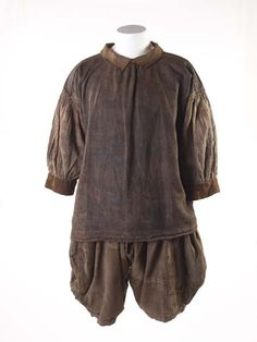 "17th century Shirt and breeches at the Museum of London, London - From the curators' comments: ""Extremely rare survival of a shirt and breeches, called slops, as worn by sailors from the late 16th through to the 18th centuries. This unique set of loose, practical sailor's clothing reveals life aboard ship. They are made of very strong linen to endure the hard, rough work."""