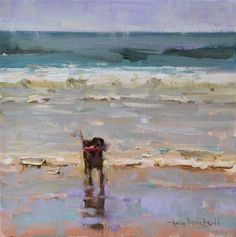 View oil paintings by Anne Blair Brown. Seascape Paintings, Animal Paintings, Beach Paintings, Painting People, Dog Portraits, Beach Art, Dog Art, Painting Inspiration, Illustration Art
