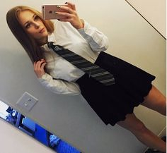 Selfie In Formal School Uniform - Today Pin College Uniform, School Uniform Outfits, Cute School Uniforms, Girls Uniforms, Catholic School Uniforms, Catholic School Girl, School Girl Dress, School Wear, Cute Summer Outfits