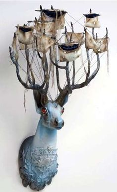 Beautiful Nautical Taxidermy Fusions - Mounted Animal Sculptures With an Ocean Theme by Elizabeth McGrath. I wish I knew what material it was made of. The red eyes should have been white, black or navy blue. Art Dolls, Sculpture Art, Animal Art, Animal Sculptures, Lowbrow Art, Illustration Art, Sculpture, Art, Taxidermy Art