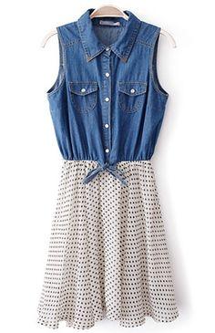 Blue White Sleeveless Polka Dot Denim Chiffon Dress. love this combo kicky skirt/chambray shirt dress.