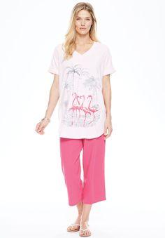 0c2e33aa23 bSoft Pajamas · Plus Size Knit capri pants set Nautical Prints