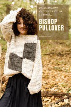 Bishop Pullover. Crochet Pattern – ByKaterina Crochet Shirt, Crochet Baby, Free Crochet, Knit Crochet, Crochet Sweaters, Crochet Jumper Free Pattern, Crochet Jumpers, Crochet Skirt Pattern, Sweater Patterns