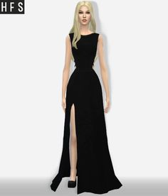 Haut Fashion Sims: Maxi dress side cut out • Sims 4 Downloads