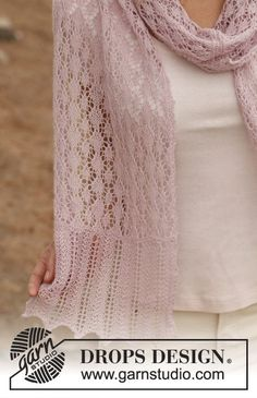 "Knitted DROPS scarf with lace pattern in ""Lace"". ~ DROPS Design"