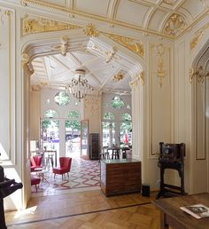 lots of leaf gold was applied to the walls to restore original interior look Beautiful Buildings, Vienna, Designer, Restoration, The Originals, Architecture, Austria, Creme, Palace