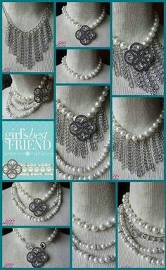 """Signature"" 5-strand Necklace (15"" chain, 16"" double faux pearl, 18"" fringe + 4"" extender) removable strands and magnetic pin/enhancer. Maximum versatility - over 30 ways to wear the necklace! http://www.christinemaulsby.mypremierdesigns.com"